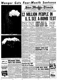 「nuclear bomb test in nevada, newspaper reports」の画像検索結果