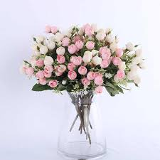 roses artificial flowers for wedding decorative dried fabric silk vase garland rose vine