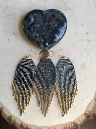 Starry Night 24K Gold dipped Star earrings Beaded Earrings Native ...