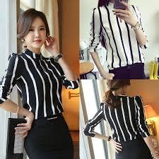 <b>Korean Style Women</b> Office Shirts Long Sleeve Striped <b>Chiffon</b> ...