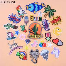 <b>ZOTOONE Iron</b> On Unicorn Rainbow Cactus Patches For Clothing ...