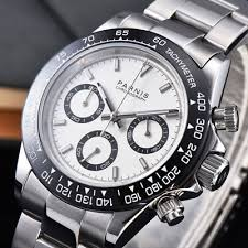 39mm PARNIS white dial <b>sapphire</b> crystal solid full Chronograph ...