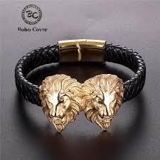 <b>2019 New Punk</b> Stainless Steel Genuine Leather Bracelet Men Gold ...
