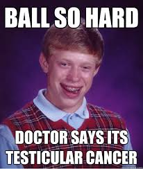Ball so hard doctor says its testicular cancer - Bad Luck Brian ... via Relatably.com