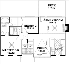 Traditional Split Level Home Plan   GA   st Floor Master    Floor Plan