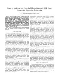 Issues in Modeling and Control of Electro-Pneumatic <b>EGR Valve</b> ...