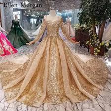 <b>Burgundy Long Sleeves</b> Wedding Dresses with Gold <b>Lace</b> Puffy ...