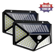 <b>100 LED Solar</b> Wall Light <b>PIR</b> Motion Sensor Garden <b>Outdoor</b> Security