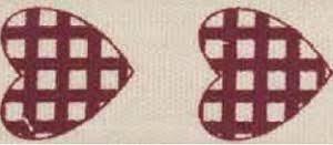 "Лента хлопковая с рисунком 1,5см ""<b>Сердечки в клеточку</b>"" 1метр ..."