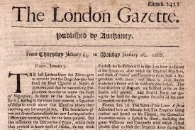 「oxford gazette 1665」の画像検索結果