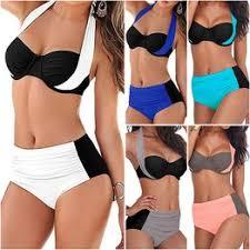 New Sexy Solid Color Pachwork Bikini Women Swimsuit ... - Vova