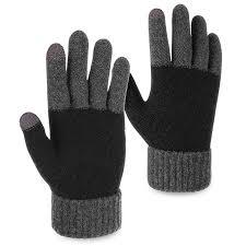 OMECHY Unisex Winter Warm Knit Mittens Texting Black ...
