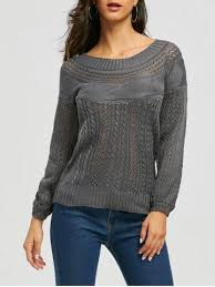 <b>Chic Long Sleeve</b> Boat Neck <b>Pure</b> Color Women's Sweater ...