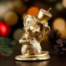 "<b>Свеча декоративная</b> ""Крыс с цилиндре"", золотая, 7×7×<b>10 см</b> ..."