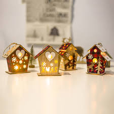 <b>LED</b> Christmas <b>Glowing Cabin</b> Home Party <b>Wooden</b> Xmas ...