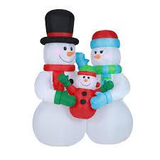 Luxen Home 8 ft. <b>Snowman</b> Family <b>Inflatable</b> with <b>LED Lights</b> ...