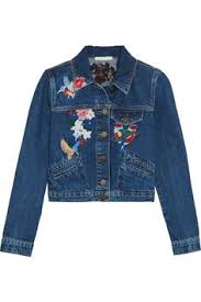 <b>Maje</b> | Cropped embroidered denim <b>jacket</b> | NET-A-PORTER.COM ...