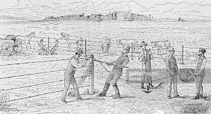 19thCentury Drawing Of Farmers Constructing A Barbed Wire Fence  D