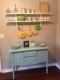 appealing ikea varde: ikea varde wall shelf with  hooks over blue refinished buffet southern chic