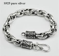 <b>7MM 100</b>% <b>pure real</b> 925 Sterling Silver Bracelet S925 Thai silver ...