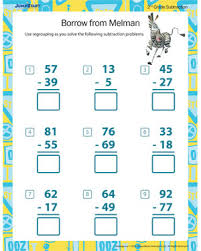 Borrow from Melman – Printable 2nd Grade Math Worksheet – JumpStartBorrow from Melman - Free Regrouping Subtraction Worksheet