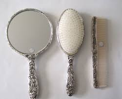 <b>Vintage</b> Antique Collectible Silver <b>Plated Brush</b>, Mirror Comb, Hair ...