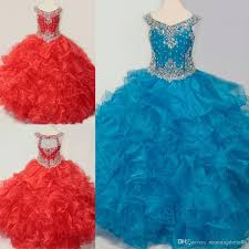 Charming Blue Red <b>2019 Toddler Girls</b> Pageant <b>Dresses</b> Ball Gown ...