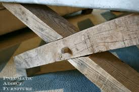images zinc table top: i love the rustic hand hewn look of the xs to make them look a little more authentic i glued on some small square dowels to look like the posts were