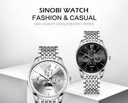 Sinobi luxury <b>Men</b> Business Watch Full Stainless Steel Calendar ...