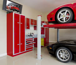 large garage design ideas with white tile floors also minimalist bunk car park red cupboard plus awesome black painted