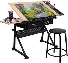 Adjustable Height <b>Drafting</b> Desk <b>Drawing</b> Table <b>Tiltable Tabletop</b> for ...