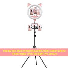 20 Inch LED Professional Cute Cat Ear <b>Live broadcast</b> Light <b>phone</b> ...
