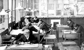 indoor gas lights help clerical workers in an early 20th century office century office