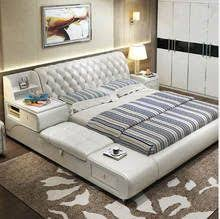 Online Shop <b>real genuine leather bed</b> with massage /double beds ...