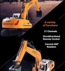 <b>1</b>/16 RC Excavator Car 17CH Double 2.4G Remote Control Car ...