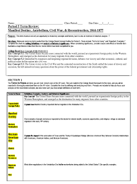 era review sheet hw american civil war southern united states