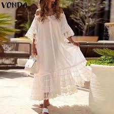 VONDA Summer <b>Sexy White</b> Lace Dress 2019 Women <b>Vintage</b> ...