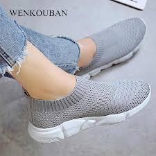 <b>Women</b> White Sneakers <b>Female knitted Vulcanized</b> Shoes Casual ...