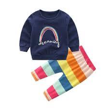 Shop 2pcs <b>Autumn Baby Clothes</b> Set Boy <b>Cute</b> T-shirt Colorful Stripe ...
