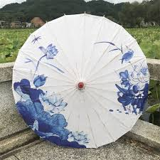 Chuangge Olied <b>Paper Umbrella</b> Rain Women <b>Craft</b> Blue Ink ...