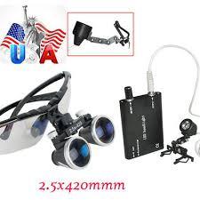 CE Dental Surgical <b>Medical Binocular Loupes 2.5X420mm</b> + LED ...