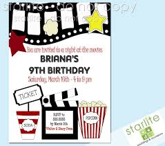 printable birthday invitation movie party movie party printable birthday party invitations movie theme