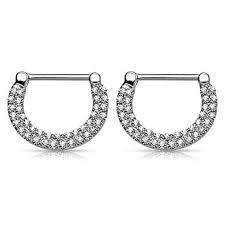 Pierce2GO Silver 14G <b>316L Surgical</b> Steel Double Lined <b>Crystal</b> ...