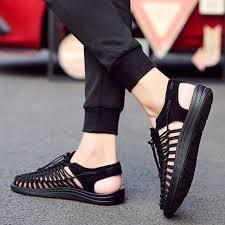 Sandals men <b>2019</b> New Leather Beach Shoes tide men's <b>summer</b> ...