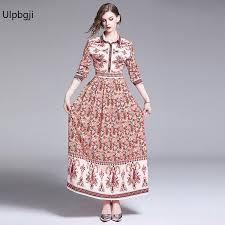 Women Floral Printed Dress Elegant <b>Bohemian</b> Beach Neck Maxi ...