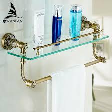 bathroom tempered glass shelf: bathroom accessories bathroom glass shelf antique finish with tempered glasssingle double glass shelf