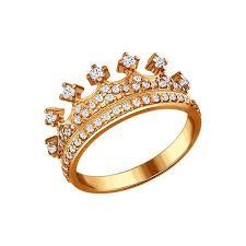 Серебряное <b>позолоченное кольцо</b> в форме короны <b>SOKOLOV</b> ...