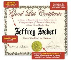 good list certificate santamail a personalized letter from santa claus to your child