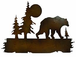 tree scene metal wall art: amazoncom gardman  bear wilderness wall art uquot long x