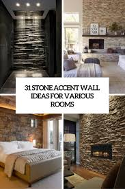 natural bedrooms stacked stone wall